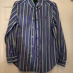Boys blue/green long sleeve cotton100%RalphLauren